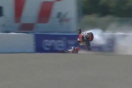 Márquez sufre durísima caída en las prácticas del Gran Premio de España (Video)